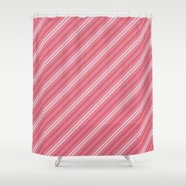 Soft Nantucket Red & White & White Diagonal Fade Stripes Shower Curtain