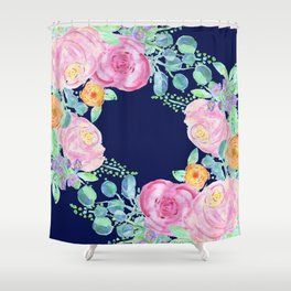 light pink peonies roses with navy background Shower Curtain