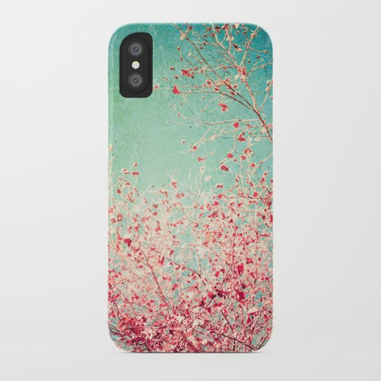 Blue Autumn, Pink leafs on blue, turquoise, green, aqua sky iPhone Case