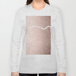 RoseGold on White London Street Map II Long Sleeve T-shirt