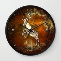 reindeer Wall Clocks featuring Reindeer by nicky2342