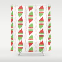 hats Shower Curtains featuring Elf Hats by applesandcinnamon