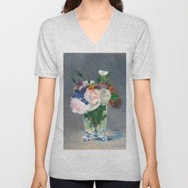 """Édouard Manet """"Flowers in a Crystal Vase"""" Unisex V-Neck"""