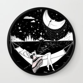 Reading in the Moonlight Wall Clock
