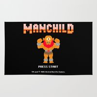 8bit Area & Throw Rugs featuring 8Bit Manchild by manchildtees.com