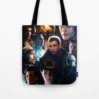 blade runner Tote Bags featuring Blade Runner by Saint Genesis
