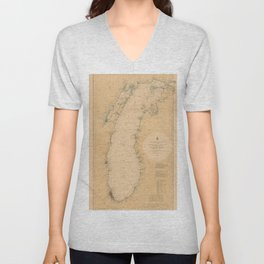 Map of Lake Michigan 1898 Unisex V-Neck