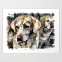 Labradors fun in the mud Art Print