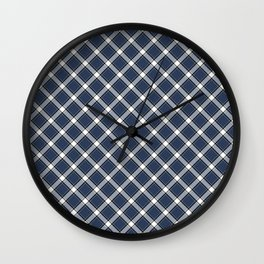 Navy Blue, White, and Black Diagonal Plaid Pattern Wall Clock