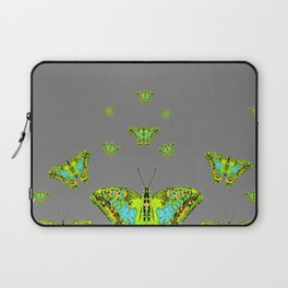 BLUE-GREEN-YELLOW PATTERNED MOTHS ON GREY Laptop Sleeve