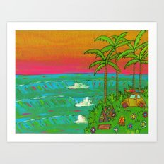 VW Beatle Bug Surf Paradise Adventure Art Print