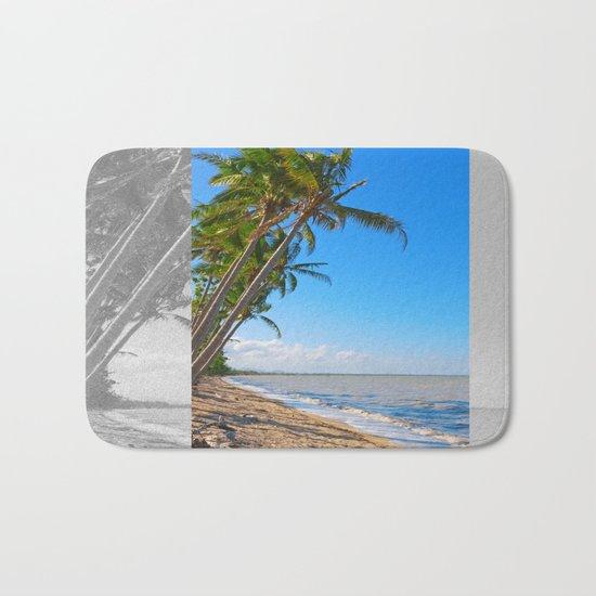 Coconut palms on beach Bath Mat