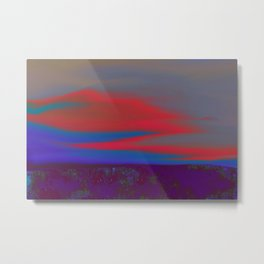 """Twilight Meadow"" (Blue/Orange-Red) Digital Painting // Fine Art Print Metal Print"