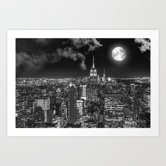 New York Under the Moon Art Print