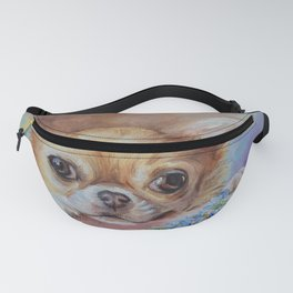 Chihuahua dog portrait with blue flowers Cute pet painting Puppy and nots Fanny Pack