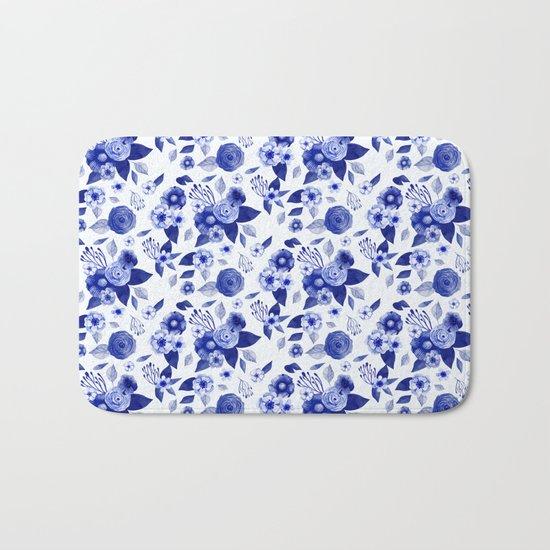 Flowers Print Bath Mat