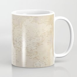 Vintage world map in sepia and gold, Kellen Coffee Mug