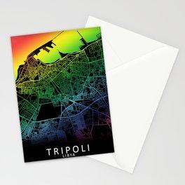Tripoli, Libya, City, Map, Rainbow, Map, Art, Print Stationery Cards