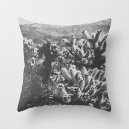 Chollo Cactus Garden (Black + White) Throw Pillow
