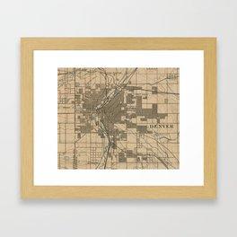 Vintage Map of Denver Colorado (1888) Framed Art Print
