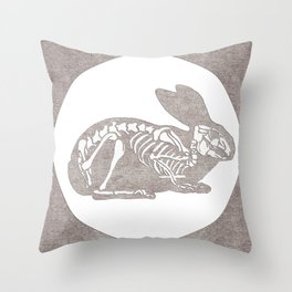 In which a rabbits anatomy is observable  Throw Pillow