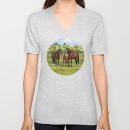 Brown Bay Quarter Horses In Summer Pasture Unisex V-Neck