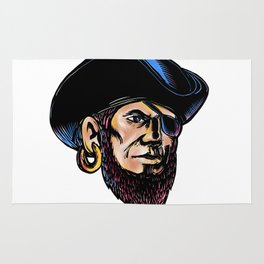 Buccaneer Eye Patch Scratchboard Rug