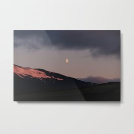Moon over blackness and red pink ice Metal Print