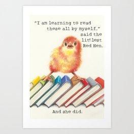 Little Red Hen Reads Art Print