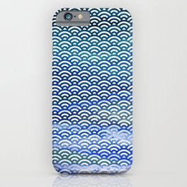 Black/Blue/Teal/Green Watercolor Seigaiha Pattern iPhone Case