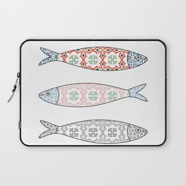 Traditional Portuguese icon. Colored sardines with typical Portuguese tiles patterns. Vector illustr Laptop Sleeve