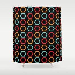 Red, Orange, & Blue Hexagons on Black Shower Curtain