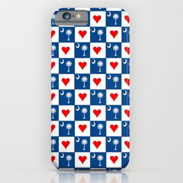 flag of south carolina with hearts iPhone Case