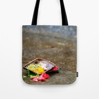 hindu Tote Bags featuring Bali - Hindu Prayer Offering by gdesai