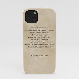 Haruki Murakami Quote 01 - Typewriter Quote on Old Paper - Minimalist Literary Print iPhone Case
