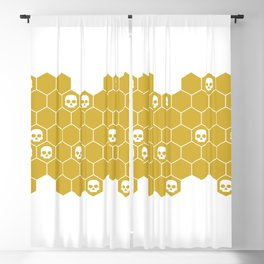 Honey Skulls - White Blackout Curtain