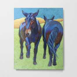 Mules Head to Tail Metal Print