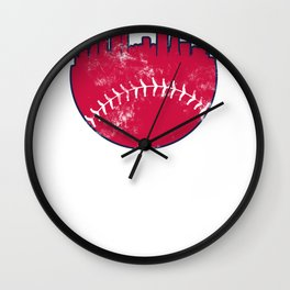Atlanta GA Baseball Skyline  Vintage Retro product Wall Clock