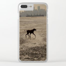 Dog playing at the beach, Vancouver, Canada landscape Clear iPhone Case