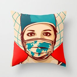 Shepard Fairey Global Forefront Throw Pillow