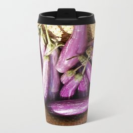 Asian Eggplant in a Basket Metal Travel Mug