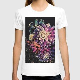 Autumn Dahlia Floral Bouquet T-shirt