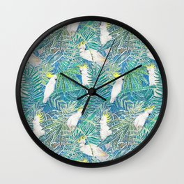 cockatoos playing around in a tropical garden watercolor Wall Clock