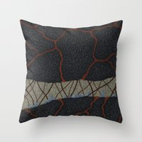 kaiju Throw Pillows featuring kaiju (cropped) by thefleafarm (Amy Wright)