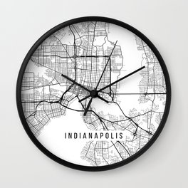 Indianapolis Map, USA - Black and White Wall Clock