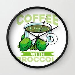 Coffee Lover Broccoli Powder Drinking Shirt Gift Wall Clock
