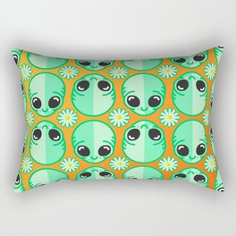Happy Alien and Daisy Nineties Grunge Pattern Rectangular Pillow