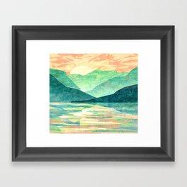 Spring Sunset over Emerald Mountain Landscape Painting Framed Art Print