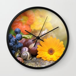 Lovely Autumn Fruits and Flowers in warm Sunlight Wall Clock