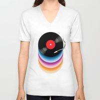 vinyl V-neck T-shirts featuring Vinyl by jun salazar